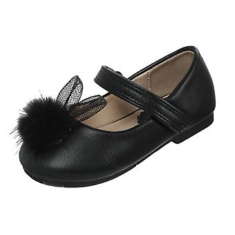 Infant girls black PU party ballerina shoes