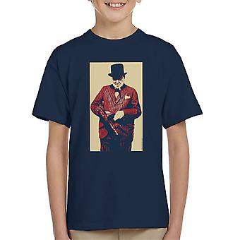 Winston Churchill British Prime Minister Thompson Machine Gun Cigar Second World War Kid's T-Shirt