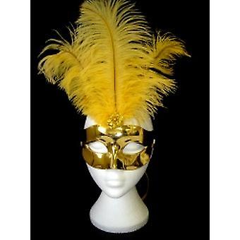 Superior Metallic Gold Feathered Eyemask (1)
