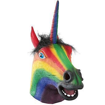Maske Einhorn bunt Vollmaske Unicorn Karneval Halloween