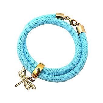 Gemshine Damen Armband Wickelarmband 925 Silber Vergoldet Libelle Blau