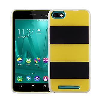 Mobiele telefoon geval voor 3 van WIKO Lenny cover case beschermende zak motief slanke siliconen TPU geel / zwart