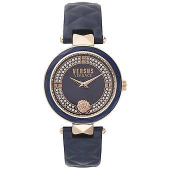 Versus Versace Womens Covent Garden azul couro Strap Dial conjunto pedra azul SPCD280017 Watch