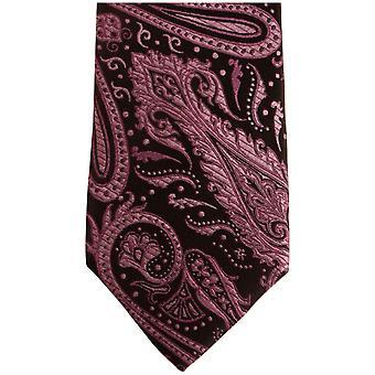Knightsbridge Neckwear Paisley silke tynne slips - lilla