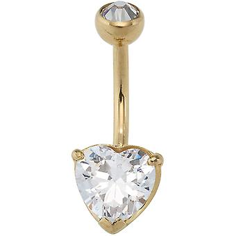 Belly button piercing heart 2 cubic zirconia stainless steel with gold of coloured PVD coating
