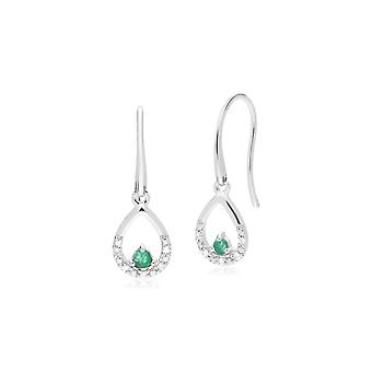 Classic Round Emerald & Diamond Pear Drop Earrings in 9ct White Gold 162E0259039