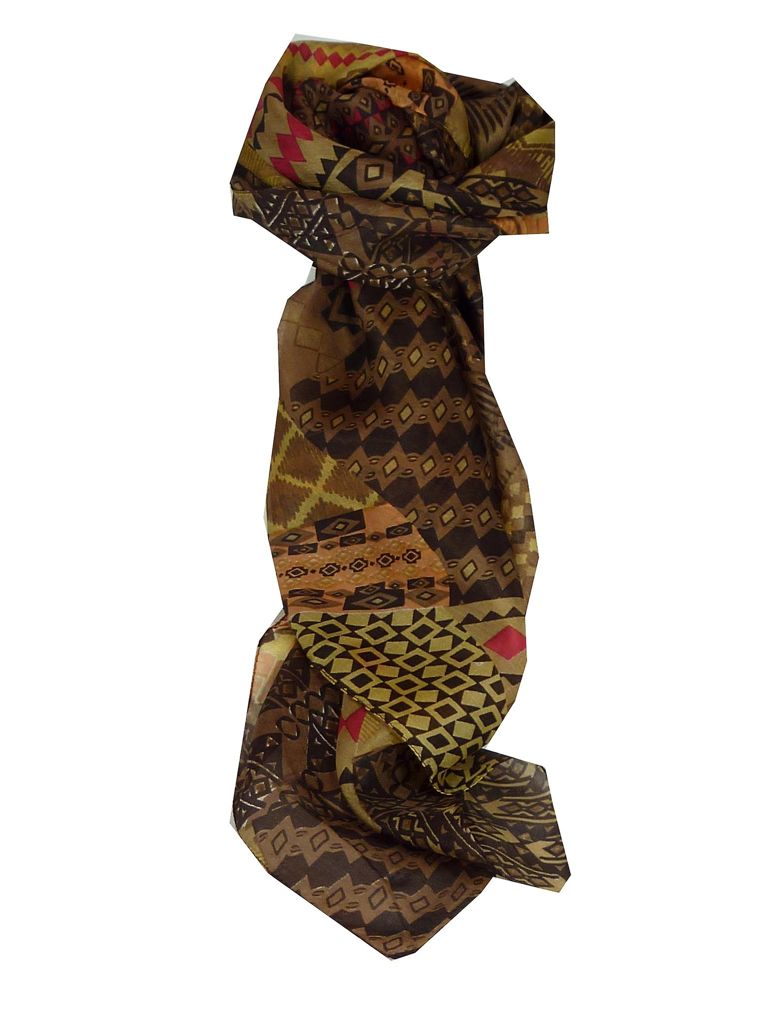 Mulberry Silk Contemporary Square Scarf Bahar Coffee by Pashmina & Silk