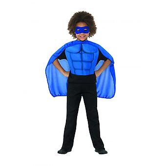 Kids Superhero Kit Blue, Eyemask EVA & Cape,Boys Fancy Dress Age 4-7
