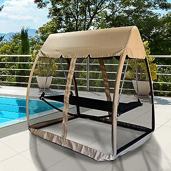 Outsunny 3 Seat Garden Swing Chair All Weather 2 in 1 Outdoor Rocking Bench Daybed with Hammock Cover Tent Water Resistant Roof + Zipped Door and Mesh Side Panel - Beige