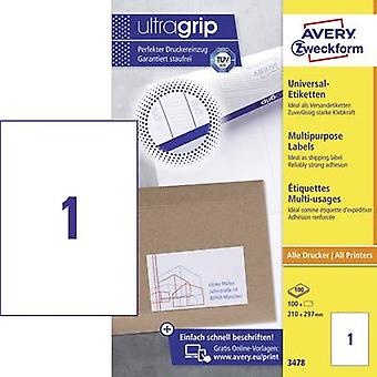 Avery-Zweckform 3478 Labels 210 x 297 mm Paper White 100 pc(s) Permanent All-purpose labels Inkjet, Laser, Copier 100 Sheet A4
