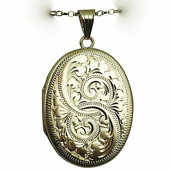 Oro 9ct 35x26mm ovale piatto mano Medaglione inciso con un belcher catena 24 pollici