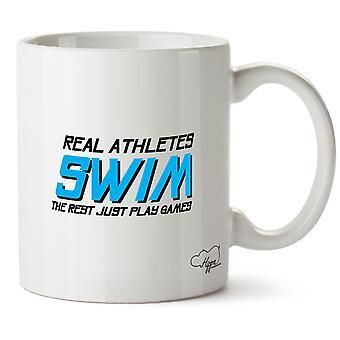 Atletas do Hippowarehouse Real nadam o resto apenas jogar jogos caneca impressa copo cerâmico 10oz