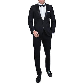 Dobell Herre sort 2 stykke smoking Skinny passer Notch revers aften middag Suit