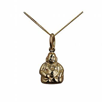 9ct Gold 11x9mm Buddha Pendant with a curb Chain 20 inches