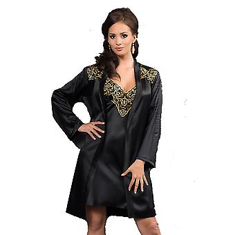 Irall Luna Black and Golden Satin Floral Embroidered Dressing Gown