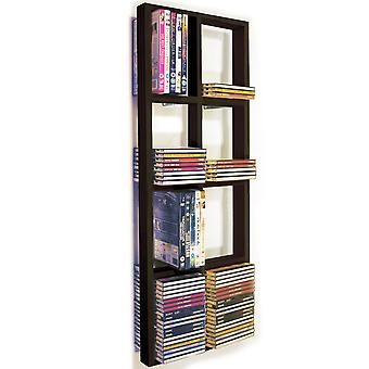 Iris - Cd doble pared 152 / 64 Dvd / Blu Ray almacenamiento marco estante - negro/marrón