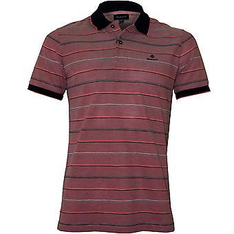 GANT Oxford Stripe Pique Rugger Polo Shirt, Wassermelone rot