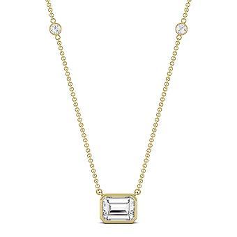 14K gult guld Moissanite av Charles & Colvard 8x6mm Emerald hänge halsband, 1,87 cttw DEW