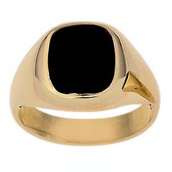 9ct arany 12x10mm férfiak Onyx meg párna Signet Ring méret Z