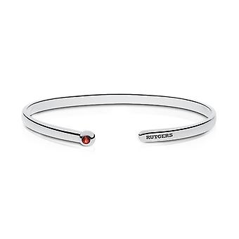 Rutgers University Engraved Sterling Silver Ruby Cuff Bracelet