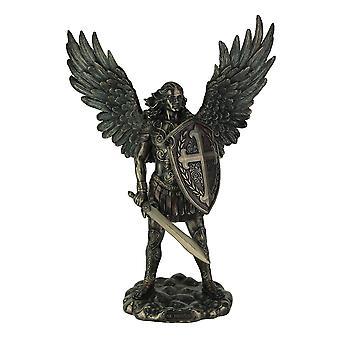 St. Michael the Archangel In Battle Gear Pewter Finish standbeeld