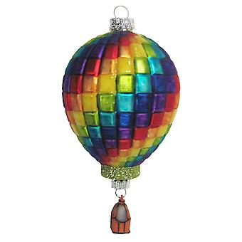 Christmas By Krebs Blocks of Bright Color Hot Air Balloon Glass Holiday Ornament