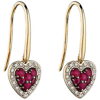 Boucles d'oreilles Elements Gold Ruby and Diamond Heart - Rouge/Or/Argent