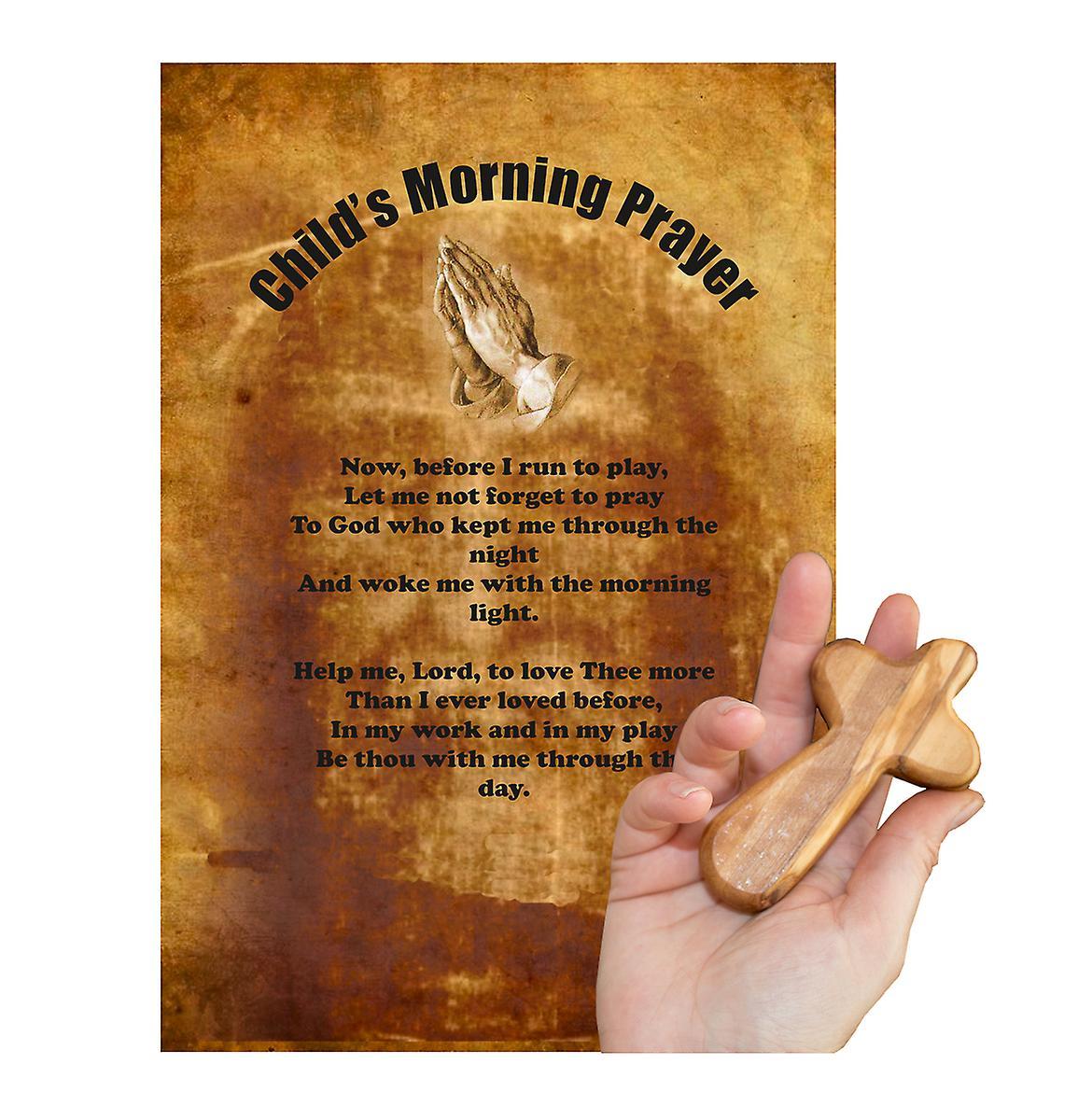 Childs Morning Prayer Carved Olive Wood Comfort Cross Religious Keepsake Hand Made In Bethlehem