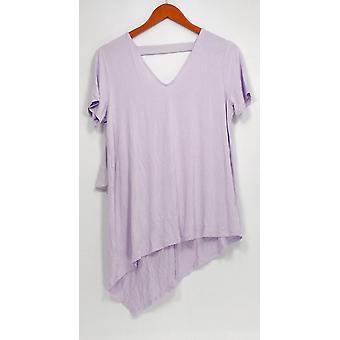 Colección Lisa Rinna Mujeres's Top V-Neck W/ Chiffon Purple A303168