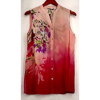 سوزان غرافير الأعلى المطبوعة شير الشيفون بلا أكمام قميص وردي A265843