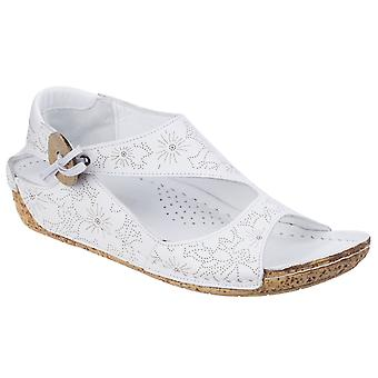 Riva Womens Arlo Low Wedge Leather Sandal White
