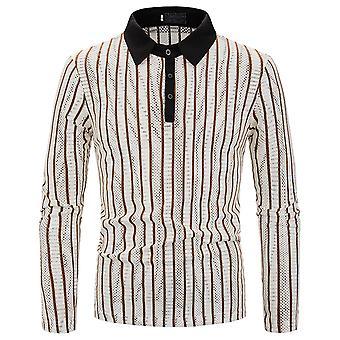 Allthemen Men's T-Shirt Lapel Stripe Hollow Long Sleeve Shirt