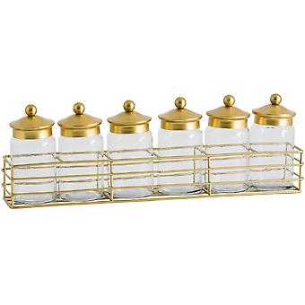 Hill Interiors Six Jar Brass Lid Spice Rack