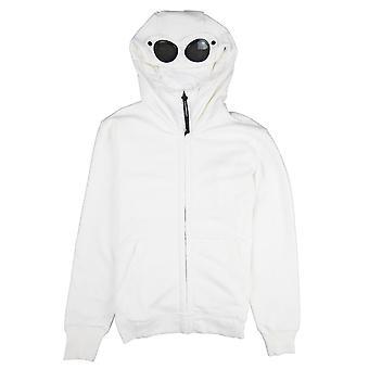 CP bedrijf diagonaal verhoogd fleece Goggle volledige zip hoodie gebroken wit 103