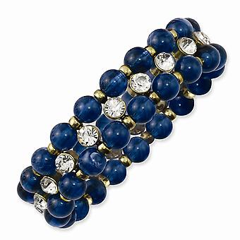 Brass tone Blue Acrylic Beads and Clear Glass Stones Stretch Bracelet Jewelry Gifts for Women