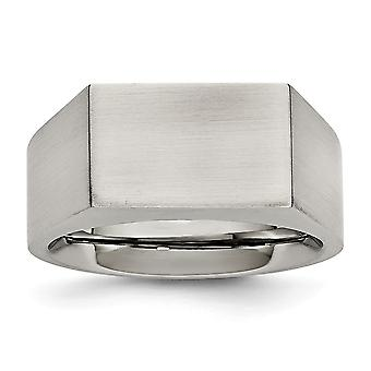Stainless Steel Polished and Brushed Signet Ring  Jewelry Gifts for Women - Ring Size: 9 to 12