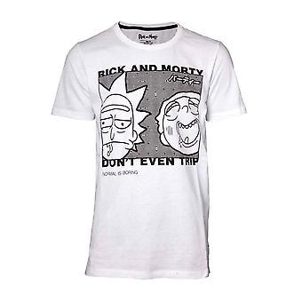 Rick och Morty T shirt dont ens resa även logo typen nya officiella Mens vit