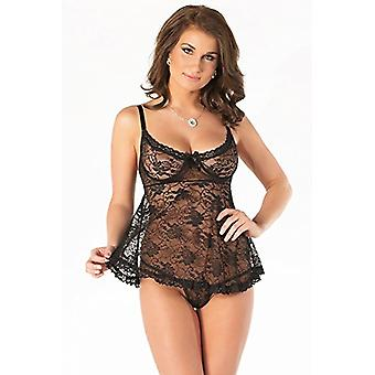 Coquette Women's Stretch Lace Babydoll and G-String Set,, Black, Size X-Large