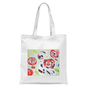 Acrylic Painted Flowers Tote Bag - White