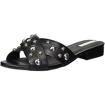 Kenneth Cole New York Women's Verna Stud X-Band Flat Sandal, Black, 10 M US