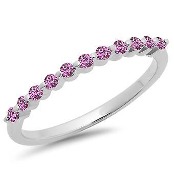 Dazzlingrock Collection 0,25 Carat (ctw) 10K Round Pink Sapphire 11 Stone jubileum Wedding band 1/4 CT, hvitt gull