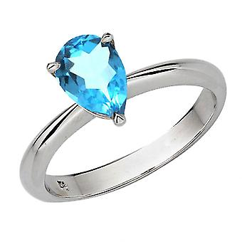 Anillo de compromiso nupcial Dazzlingrock Collection Silver 8X6 MM Pear Cut Blue Topaz Solitaire
