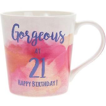Lesser & Pavey Watercolour Happy 21st Gorgeous Mug