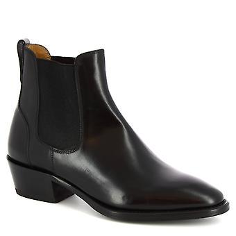 Leonardo sko kvinner ' s håndlaget spisse ankel støvler i svart kalv skinn