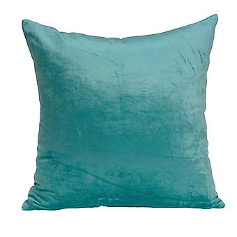 """20"""" x 7"""" x 20"""" Transitional Aqua Solid Pillow Cover With Poly Insert"""