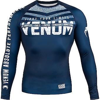 Venum Assinatura Long Sleeve Compression Rashguard - Azul Marinho / Branco