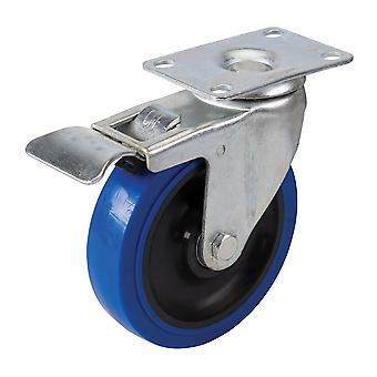 Braked Swivel Elastic Rubber Castor - 125mm 180kg Blue