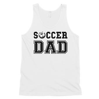 サッカーお父さんメンズホワイト思いやり忠実な誇り楽しいノースリーブトップギフト