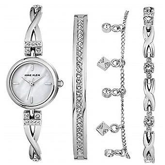 Coffret Anne Klein AK-N3083SVST - Montre Cristaux Swarovski Bracelet Acier Argent Bo�tier Aluminium Argent Femme + Bracelets Bijoux