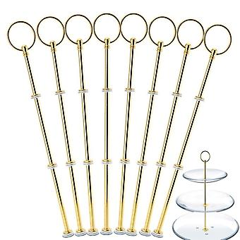 8 Sets 2 or 3 Tier Cake Plate Stand Handle Fittings GOLD Plate Stands for Tea Shop Room Hotel